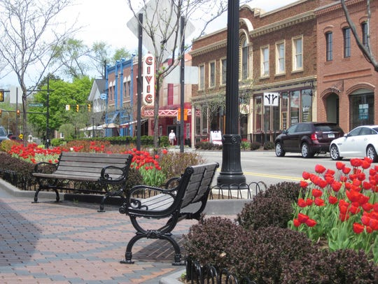 Historic buildings line downtown Farmington at Grand