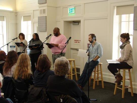 """The """"Flint"""" cast doing a reading of the play at the Chelsea District Library."""