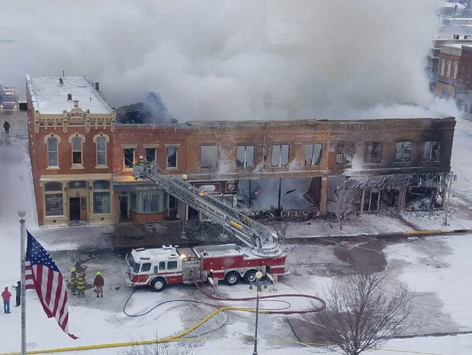 Early morning picture of fire from Vinton downtown.