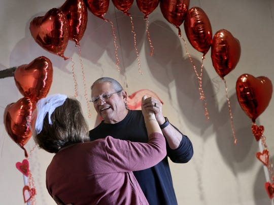 Bert and Marta Saldana enjoy their first dance after renewing their vows of 40 years Sunday.