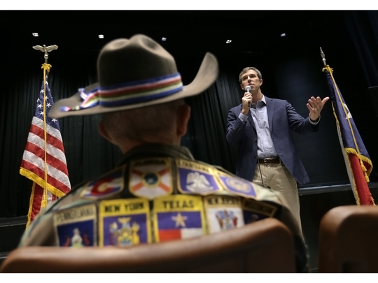 Democratic U.S. Rep. Beto O'Rourke, who is running for Senate against Republican U.S. Sen. Ted Cruz, holds a town hall meeting Tuesday at Montwood High School. The top issue at the town hall was school shootings and the Deferred Action for Childhood Arrivals program.