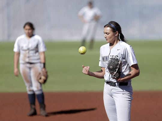 UTEP pitcher Kira McKechnie awaits her next victim during the Miners' game against Portland State in February 2018.
