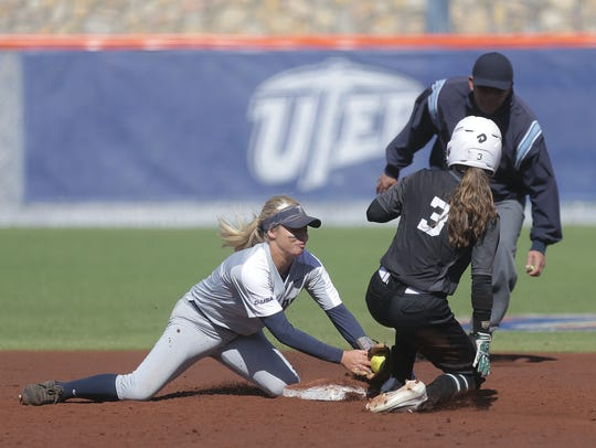 UTEP second baseman Courtney Clayton tags Portland