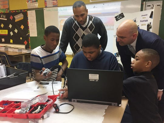 Detroit Superintendent Nikolai Vitti, talking to robotics