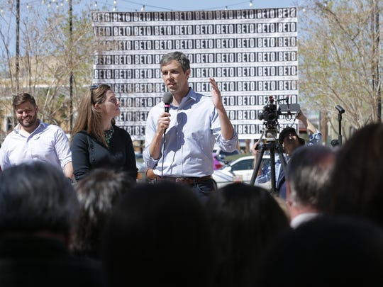 U.S. Rep. Beto O'Rourke, who is running to unseat Republican Senator Ted Cruz, held his El Paso Voting Town Hall Friday at San Jacinto Plaza. After the town hall, the entire rally walked together to vote at the El Paso County Courthouse.