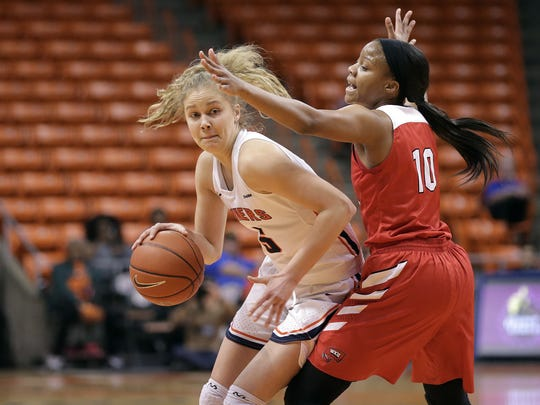UTEP's Zuzanna Puc puts a move on WKU's Tashia Brown