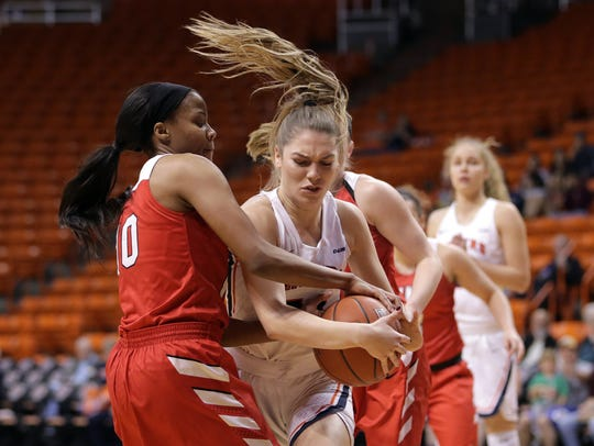 UTEP's Katarina Zec protects her rebound agains WKU's