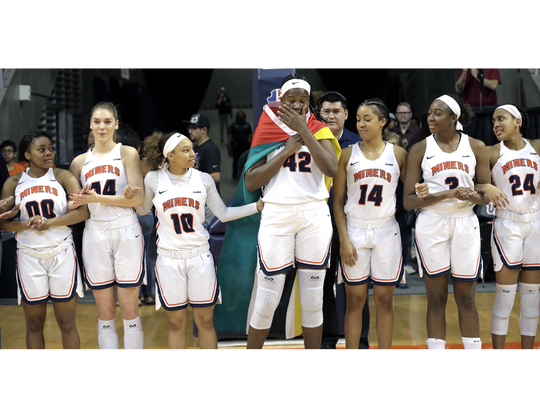 UTEP senior Tamara Seda gets emotional as she takes