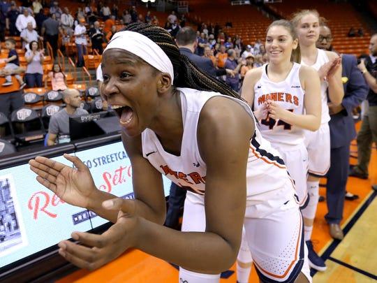 UTEP senior Tamara Seda celebrates the team's win over Western Kentucky two years ago.