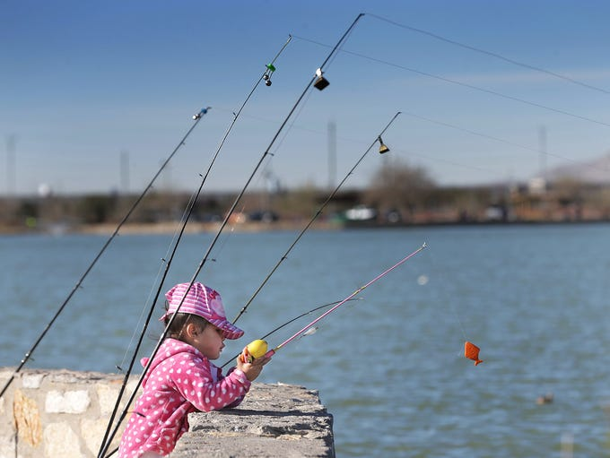 Azalea Melendez, 2, learns to fish in March during