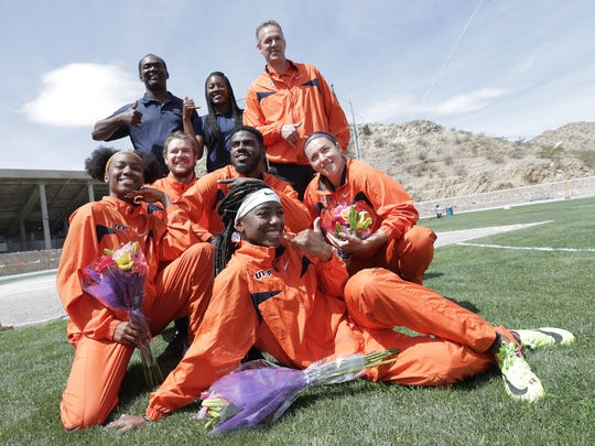 UTEP Track honored their five seniors prior to the start of the UTEP Springtime Invitational Saturday at Kidd Field.