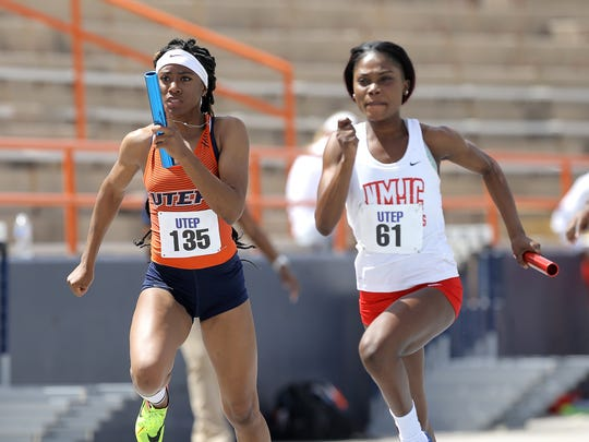 UTEP's Tyler Ragin is paced by New Mexico Junior College's Britney Hew in the second leg of the 4x100 Saturday at the UTEP Springtime Invitational.