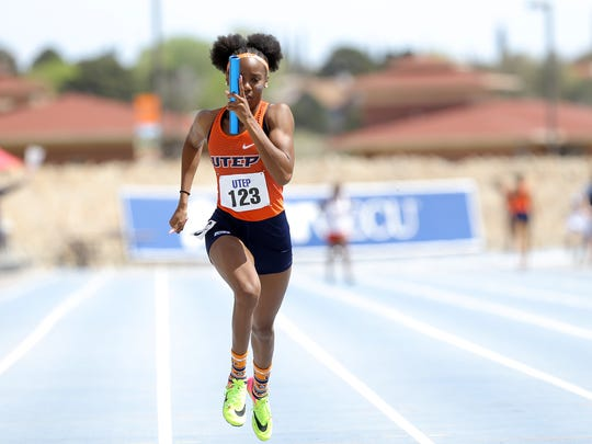 UTEP's Imani Adams runs the anchor leg of the women's 4x100 meter relay Saturday at Kidd Field.