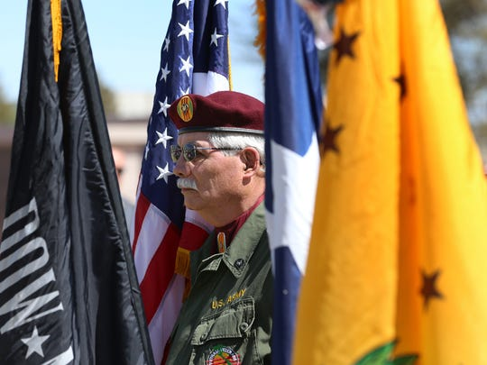 Members of the Vietnam Veterans of America Chapter #574 provided the colors during the Vietnam War 50th Anniversary Commemoration at the Fort Bliss National Cemetery.