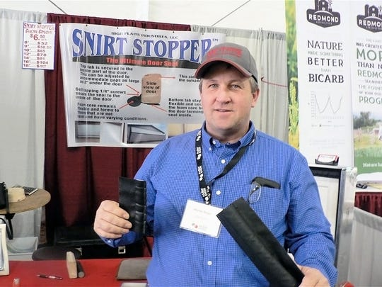 "Montie Beyer inventor and marketer of the ""Snirt Stopper"" says, ""it's the only one of its kind in the world."""
