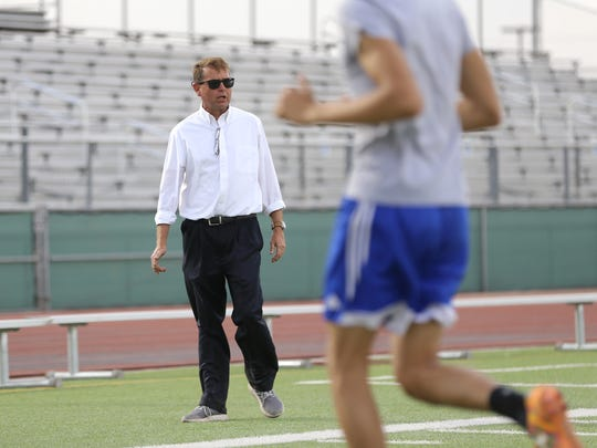 San Elizario head soccer coach Max Sappenfield runs practice in April 2018 as his team prepared for state.