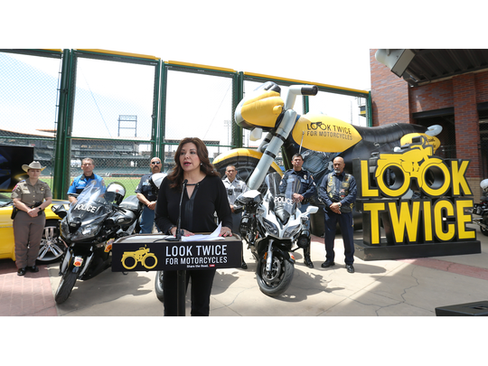 """The Texas Department of Transportation kicked off its """"Share the Road: Look Twice for Motorcycles"""" campaign Thursday in El Paso. Officials urged drivers to be extra cautious to help protect motorcyclists. At the event, a virtual reality simulator gave motorists a chance to test their motorcycle-spotting abilities."""