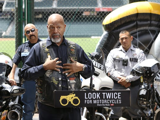 """The Texas Department of Transportation kicked off its """"Share the Road: Look Twice for Motorcycles"""" campaign Thursday in El Paso. Motorcyclists shared stories of incidents they've had on the road, saying that in each case the auto drivers said they didn't see their motorcycles."""