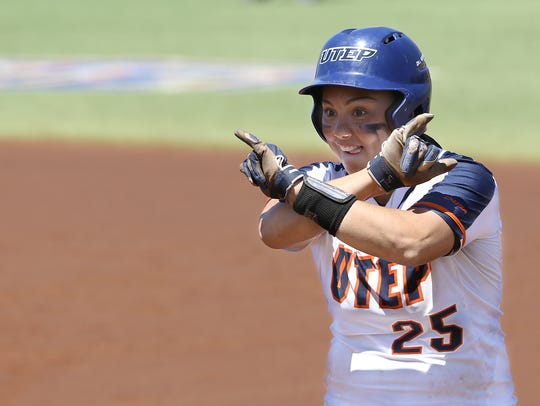 UTEP's Kacey Duffield celebrates her hit against Louisiana