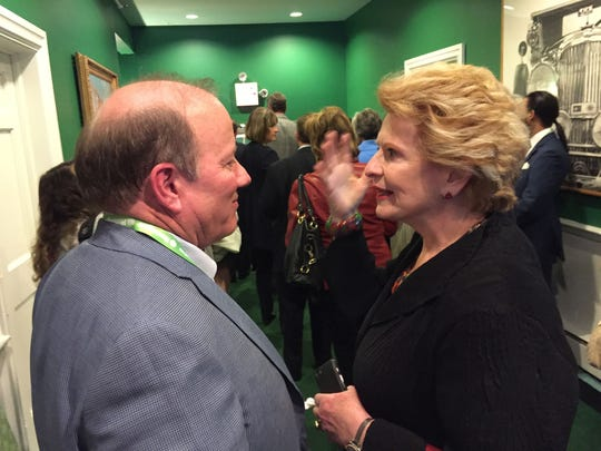 Senator Debbie Stabenow congratulated Detroit Mayor Mike Duggan last year after his presentation at the Mackinac Policy Conference on Mackinac Island.