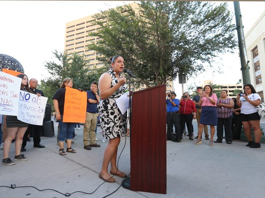 Linda Rivas of Las Americas Immigrant Advocacy Center speaks at an immigration rally Thursday outside the El Paso County Courthouse.