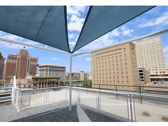 The Stanton House hotel in downtown El Paso has amazing views from their rooftop balcony.