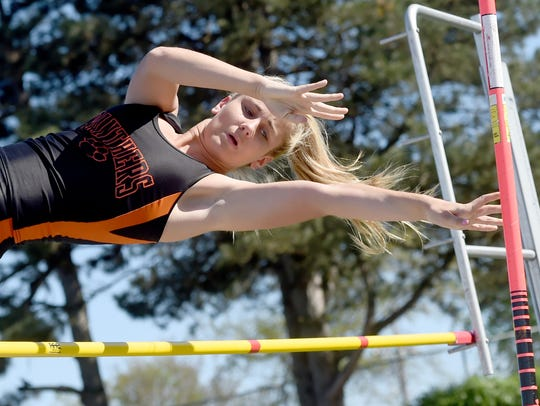 Cierra Crane competes in the pole vault at the Dallastown