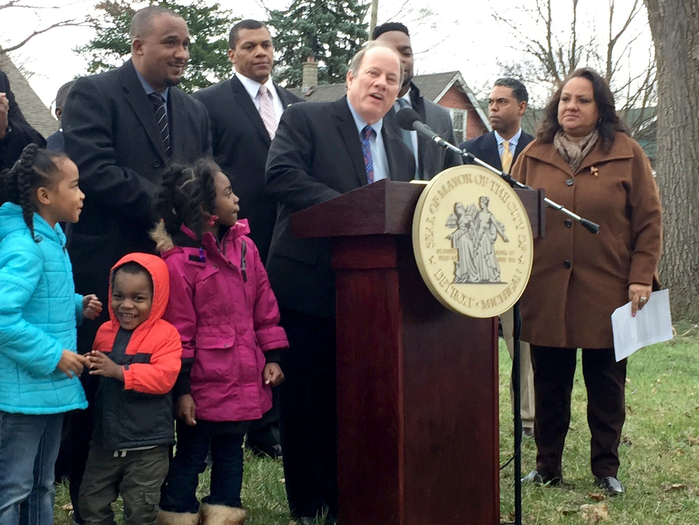 Mayor Mike Duggan in April 2017 leads the announcement of the Fitzgerald neighborhood project.