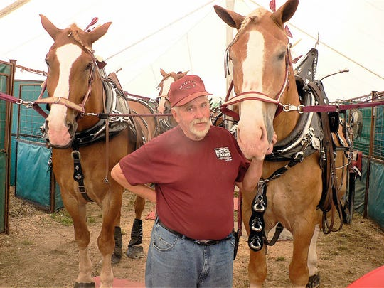 Randy Meyer, Loyal, and two of his 10-horse hitch.