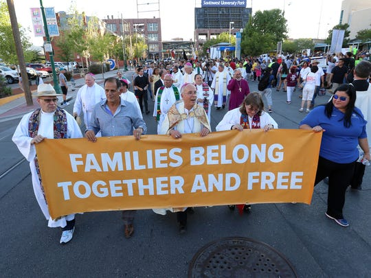 The Catholic Diocese of El Paso held a march and mass to pray for migrants who have been separated by ICE. The march began at Cleveland Square in downtown El Paso and ended at St. Patrick Cathedral.