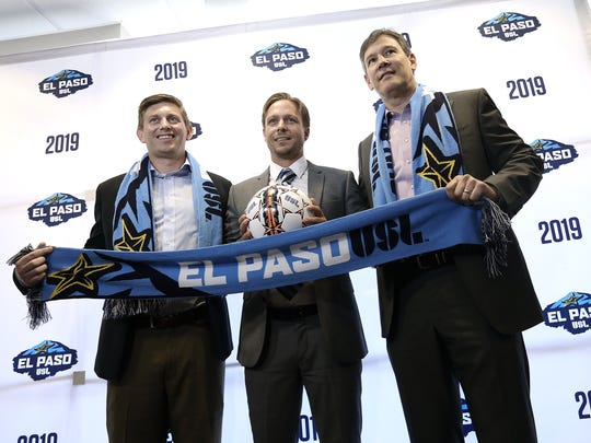 El Paso's USL team introduced the head coach during a news conference in July at Southwest University Park. Mark Lowry, center, from Birmingham, England, comes to El Paso from the Jacksonville Armada FC, where he was the team's head coach. He is joined by El Paso USL President Alan Ledford, right, and Andrew Forrest, general manager of business operations.