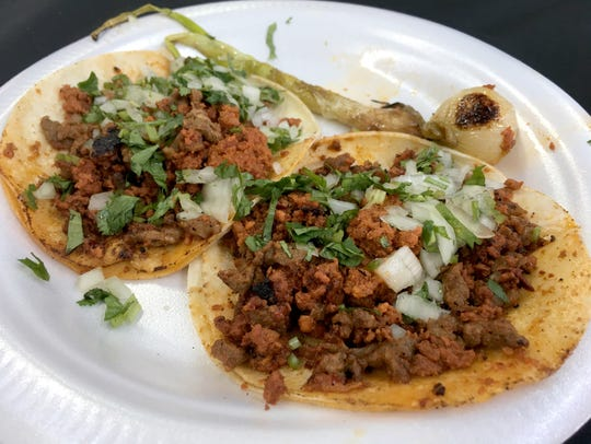 Beef and chorizo tacos from El Nacimiento Taqueria took the People's Choice prize.