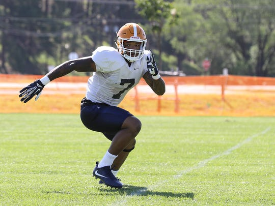 UTEP linebacker Kalali Griffin runs a drill during