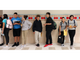 Brown Middle School students line up outside their classroom Monday.