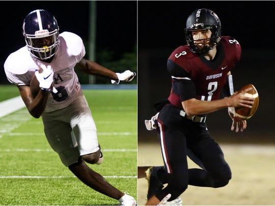 Franklin Road Academy receiver Lance Wilhoite (left)