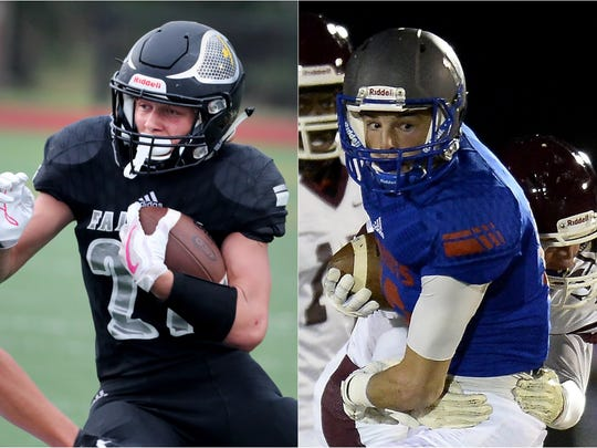 Fairview running back Logan Nardozzi (left) and Page wide receiver Michael Burdick (right)