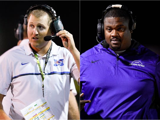 Marshall County coach Thomas Osteen (left) and Cane Ridge coach Eddie Woods (right)