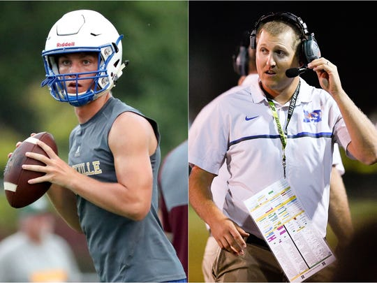 Shelbyville quarterback Grayson Tramel (left) and Marshall County coach Thomas Osteen (right)