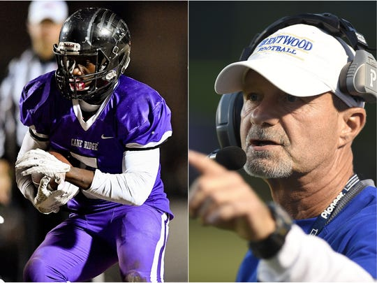 Cane Ridge running back Devon Starling (left) and Brentwood coach Ron Crawford (right)