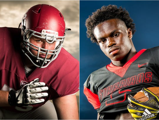 MBA offensive lineman Jackson Lampley (left) and Pearl-Cohn wide receiver Jayden Harrison (right)