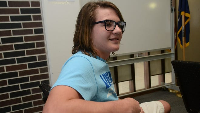 "Cory Koch, a Bolton High School sophomore, spoke at a Rapides Parish Discipline Policy Review Committee meeting to review the ""dress and appearance"" section of the district's student handbook Thursday."