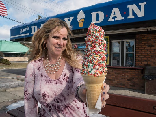 Julie Skore McBride's Dairy Dan sells  ice cream in spite of the winter weather.