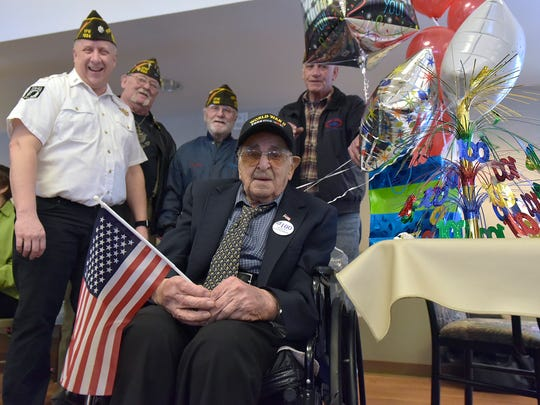 Alfred Pappalardo is honored by the guys from VFW Post 1224. From left. Post Commander John McMahon, Chaplain Charles Bussey, Post Adjutant Jim Plankey, and Senior Vice Commander John Anderson.