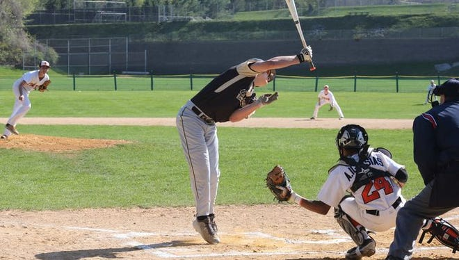 Clarkstown South's Nick Tagaris gets out of the way of a close pitch by White Plains pitcher Mike Myllek during their game in White Plains, May 2, 2015. White Plains beat Clarkstown South, 8-2.