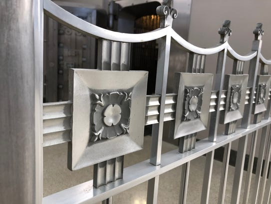 Close-up view of the art deco railing the former Indiana