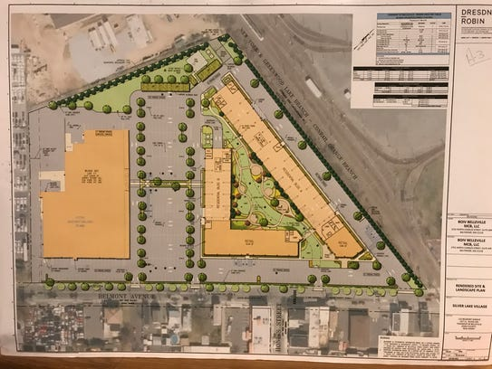 Plans prepared by the firm Dresder Robin for a 9.6 acre property on Belmont Avenue in Belleville call for two additional buildings comprised of apartments and retail at right. On the left is the existing Super Fresh Food World supermarket.