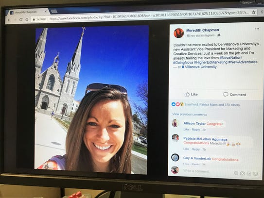 In a Facebook posting Monday, Meredith Chapman announced