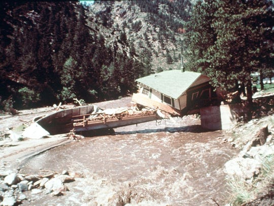A portion of a house can be seen near Drake after it collided with a bridge in the Big Thompson Flood of 1976.