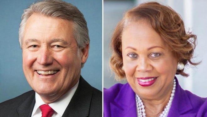 U.S. Rep. Rick W. Allen, R-12, left, and challenger Democrat Liz Johnson.