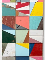 """Laura Petrovich-Cheney, """"On Track,"""" salvaged wood quilt composition"""